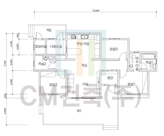 실용성 극대화한99.0㎡(30.0평) 단층 목조주택 설계도면