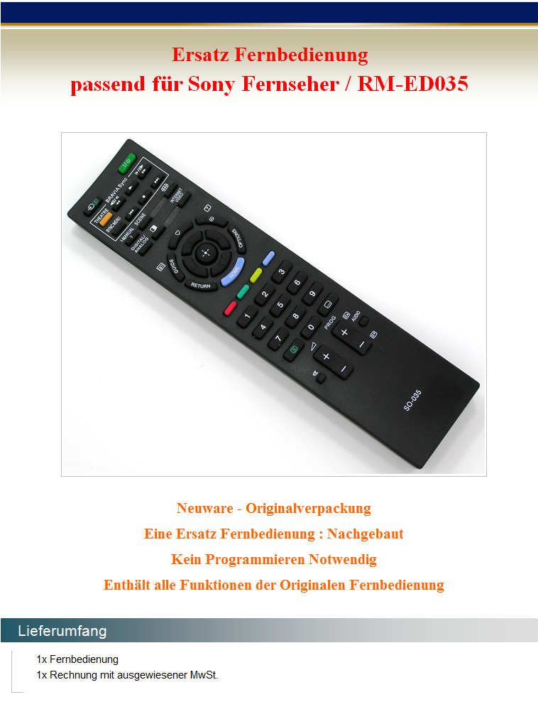 ersatz fernbedienung f r sony rm ed035 rmed035 fernseher tv remote control neu ebay. Black Bedroom Furniture Sets. Home Design Ideas